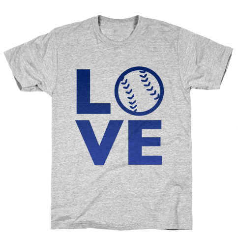 Love Baseball (Blue) Mens T-Shirt