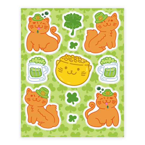 Magical Leprechaun Cats  Sticker/Decal Sheet