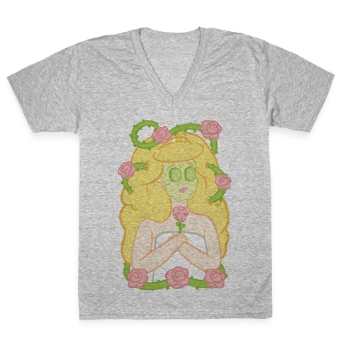 Sleeping Beauty's Spa Day V-Neck Tee Shirt