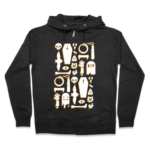 Simple Halloween Pattern Zip Hoodie
