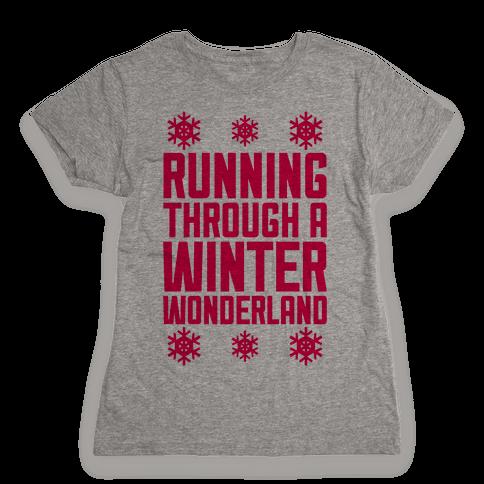 Running Through A Winter Wonderland Womens T-Shirt