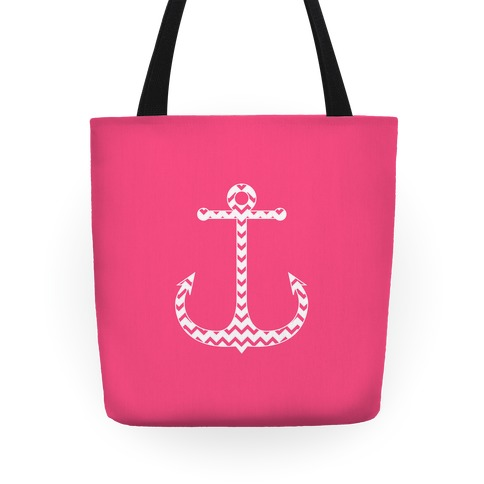 Chevron Anchor Tote (Pink and White) Tote