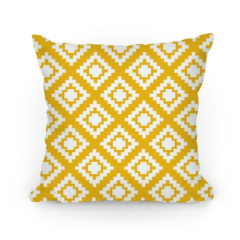 Yellow Tribal Diamond Pattern Pillow