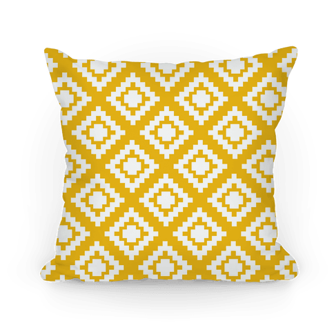Yellow Tribal Diamond Pattern Pillow