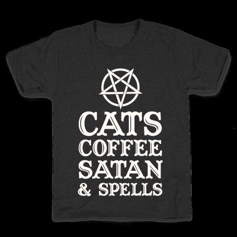 Cats Coffee Satan & Spells Kids T-Shirt