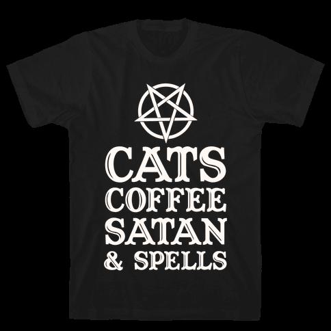 Cats Coffee Satan & Spells Mens T-Shirt