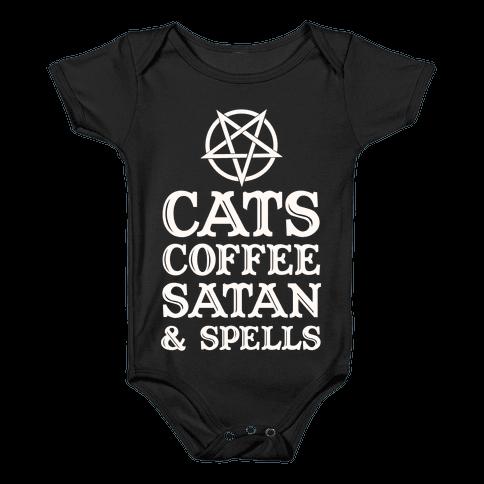 Cats Coffee Satan & Spells Baby Onesy
