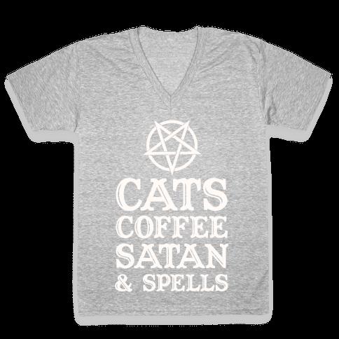 Cats Coffee Satan & Spells V-Neck Tee Shirt