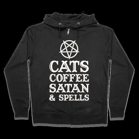 Cats Coffee Satan & Spells Zip Hoodie