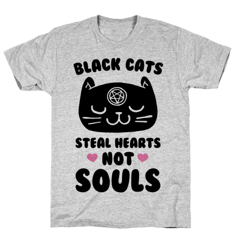 Black Cats Steal Hearts Not Souls Mens T-Shirt