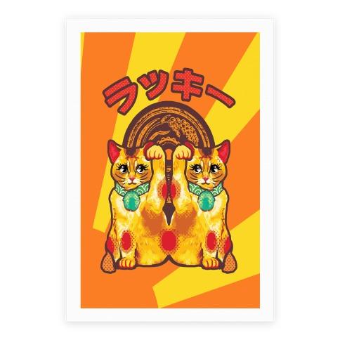 lucky cat pop art poster lookhuman