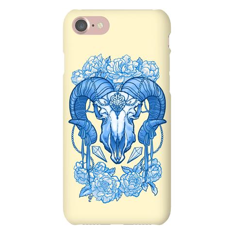 Flowery Ram Skull Phone Case