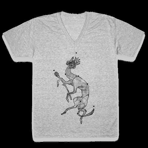 Deer God Stars V-Neck Tee Shirt