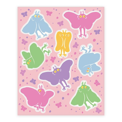 Cute Pastel Mothman Sticker and Decal Sheet