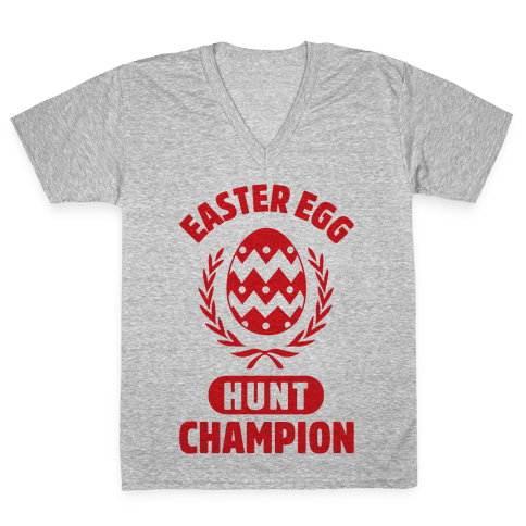 Easter Egg Hunt Champion V-Neck Tee Shirt