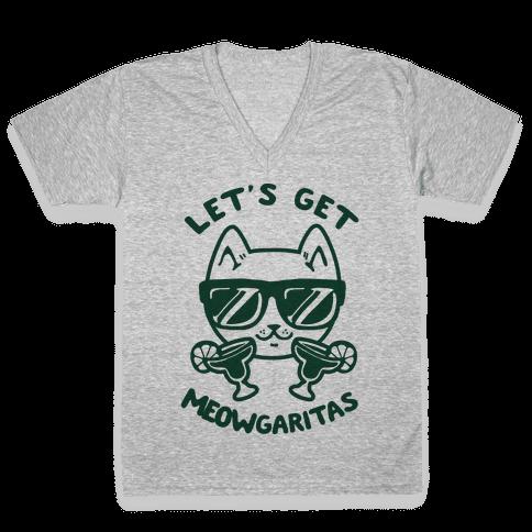 Let's Get Meowgaritas V-Neck Tee Shirt