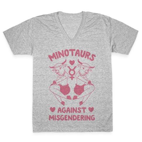 Minotaurs Against Misgendering V-Neck Tee Shirt