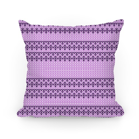Faux Knitted Sweater Purple Pattern Pillow
