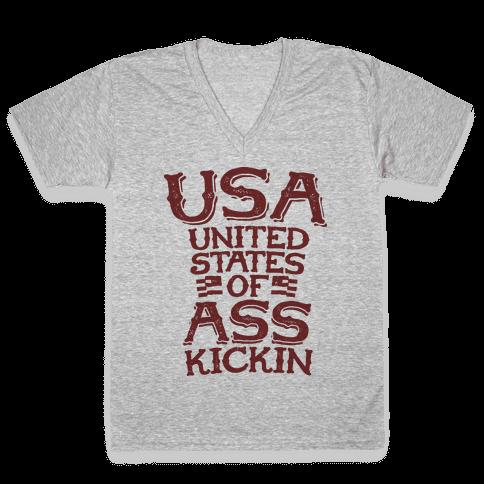 United States of Ass Kickin V-Neck Tee Shirt