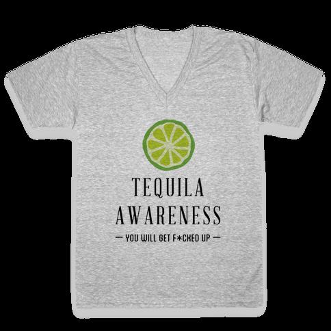 Tequila Awareness V-Neck Tee Shirt