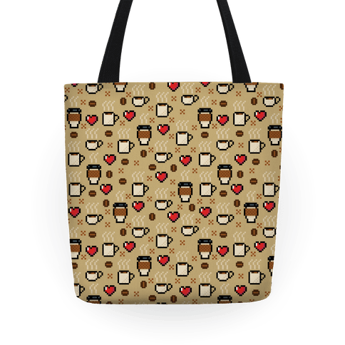 Coffee Pixel Art Pattern Tote