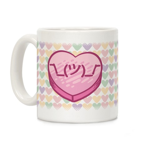 Shrug Emoticon Conversation Heart Coffee Mug