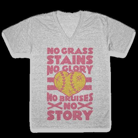 No Grass Stains No Glory V-Neck Tee Shirt