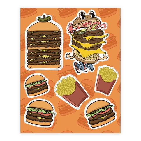 Fast Food Burger  Sticker and Decal Sheet