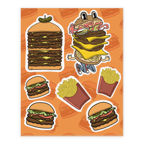 Fast Food Burger  Sticker/Decal Sheet