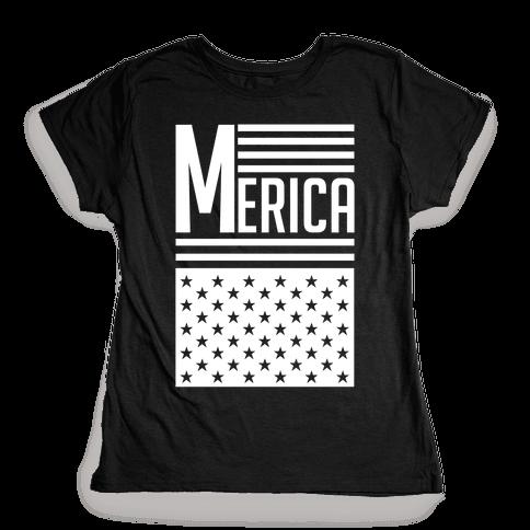 Merican Flag Womens T-Shirt