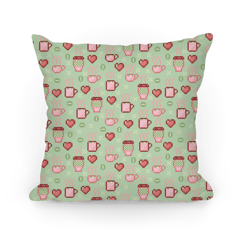 Pastel Coffee Pixel Art Pattern Pillow
