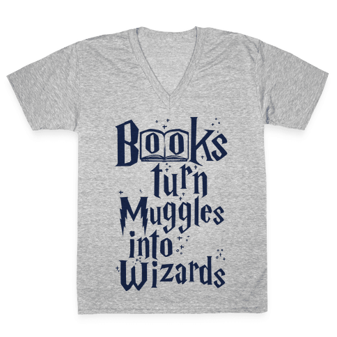 Reading Turns Muggles Into Wizards V-Neck Tee Shirt