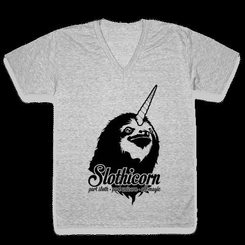 Slothicorn Part Unicorn Part Sloth All Magic V-Neck Tee Shirt
