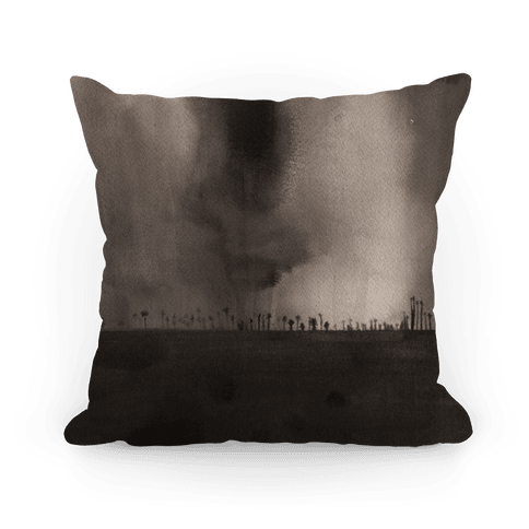 Ghostly Inkwash Landscape Pillow