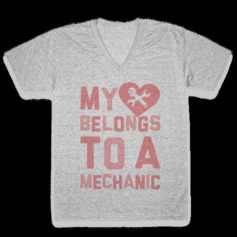 My Heart Belongs To A Mechanic V-Neck Tee Shirt