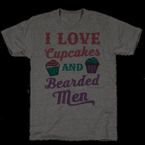 I Love Cupcakes and Bearded Men Mens T-Shirt
