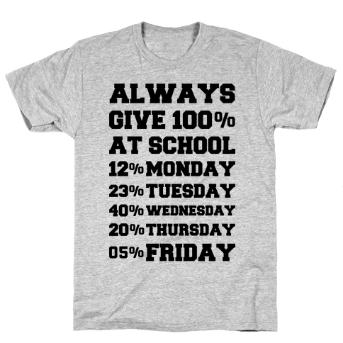 Always Give One Hundred Percent at School Mens T-Shirt