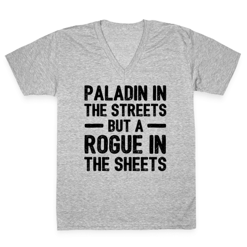 Paladin In The Streets But A Rogue In The Sheets V-Neck Tee Shirt