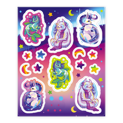 Neon Rainbow Monster Sticker Sheet 2 Sticker/Decal Sheet