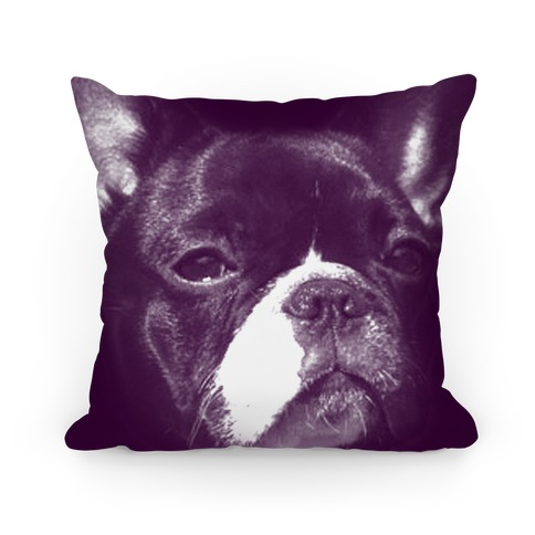 Purple Boston Terrier Face Pillow