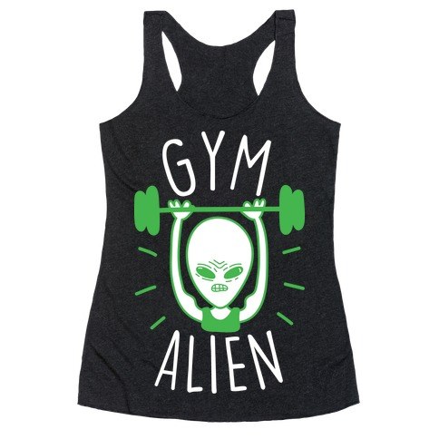 Gym Alien Lifting Racerback Tank Top