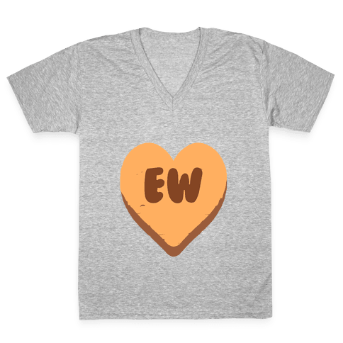 Valentine's Day Heart Ew V-Neck Tee Shirt