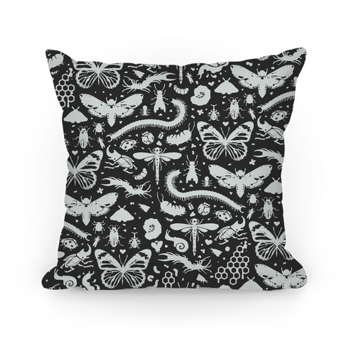 Insect Silhouette Pattern Pillow