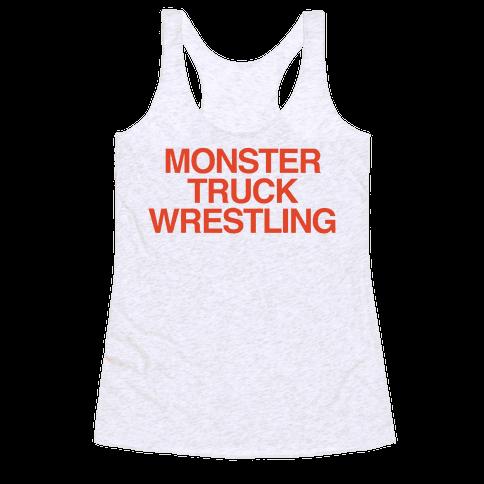Monster Truck Wrestling Racerback Tank Top