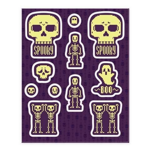 Pixel Skeleton Sticker and Decal Sheet