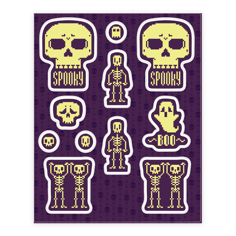 Pixel Skeleton  Sticker/Decal Sheet