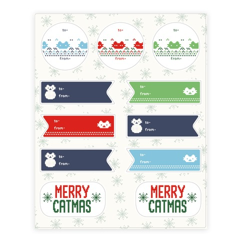 Cat Ugly Sweater Gift Tags Sticker and Decal Sheet