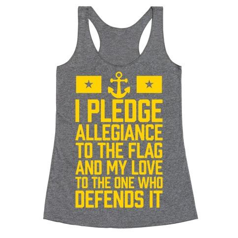 I Pledge Allegiance To The Flag (Navy) Racerback Tank Top