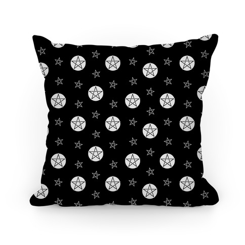 Black and White Wicca Pentacle Pattern Pillow