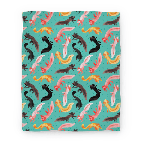 Cute Bright Axolotl Pattern Blanket